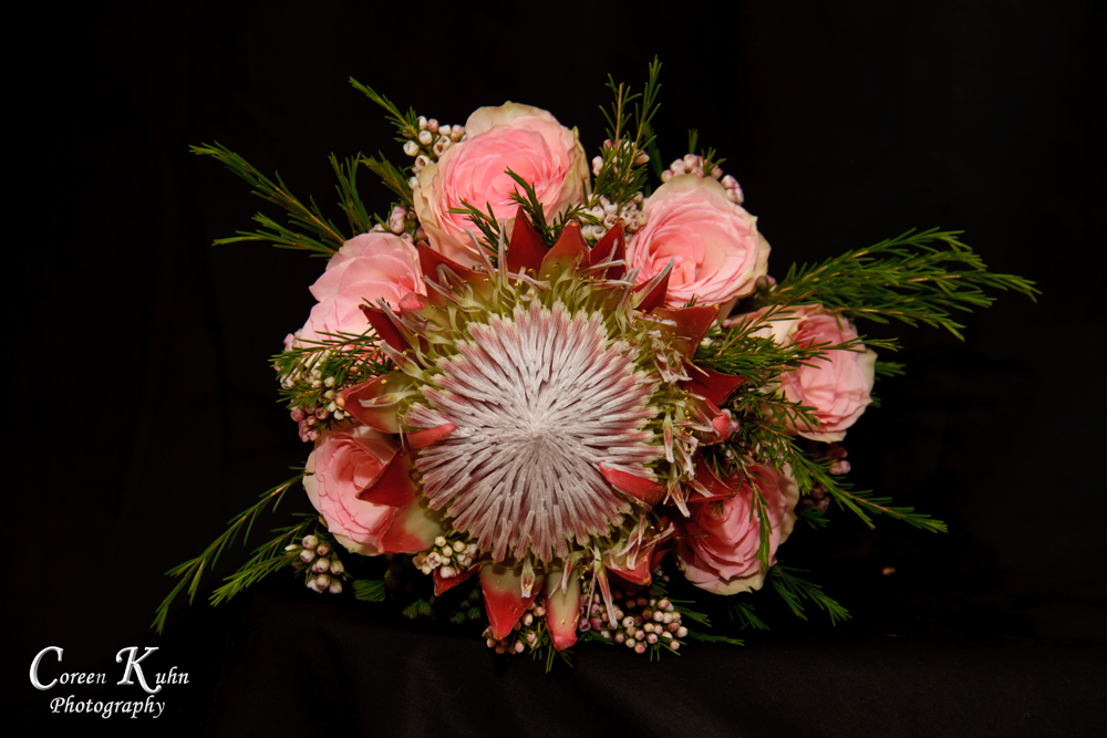 King Protea and Pink Roses Bridal Bouquet