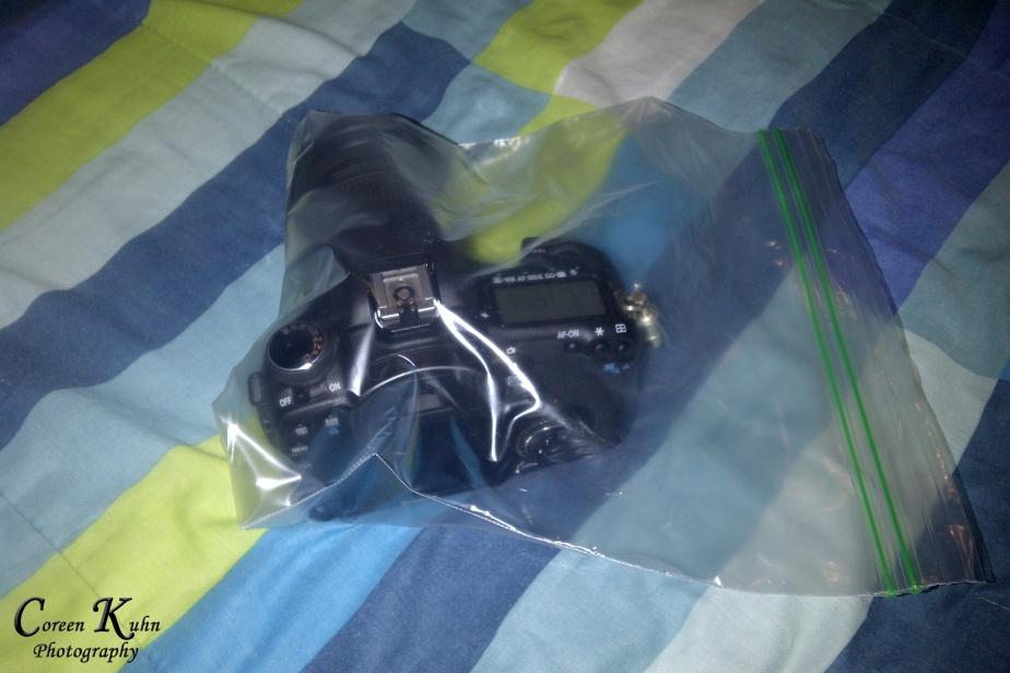 My Canon 7D in a ziplock bag